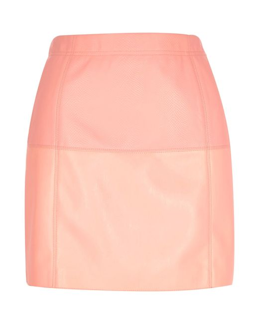 river island pink leather look pelmet skirt in pink save