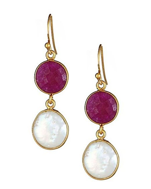Vanhi Gold Plated Sterling Silver Double Stone Freshwater Pearl & Ruby ...