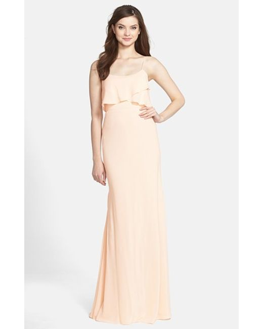 Jenny Yoo | Natural 'blake' Bib Front Crepe De Chine Gown | Lyst