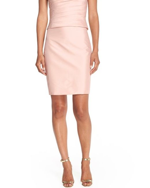 Monique Lhuillier Bridesmaids | Pink Taffeta Pencil Skirt | Lyst