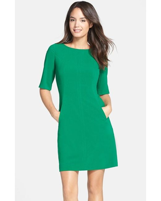 Tahari | Green Seamed A-Line Dress | Lyst