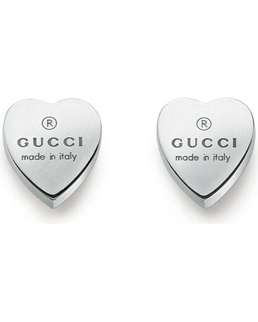 Gucci | Metallic Heart-motif Sterling Silver Stud Earrings | Lyst