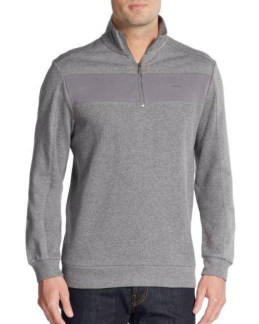 Calvin Klein   Gray Colorblock Zip-front Sweater for Men   Lyst