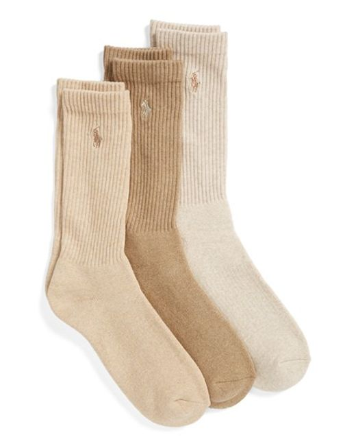 Polo Ralph Lauren | Brown Cushioned Crew Socks for Men | Lyst
