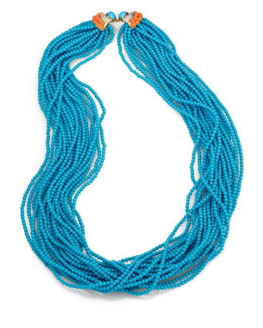 Kenneth Jay Lane | Blue Long Multi-strand Beaded Necklace | Lyst