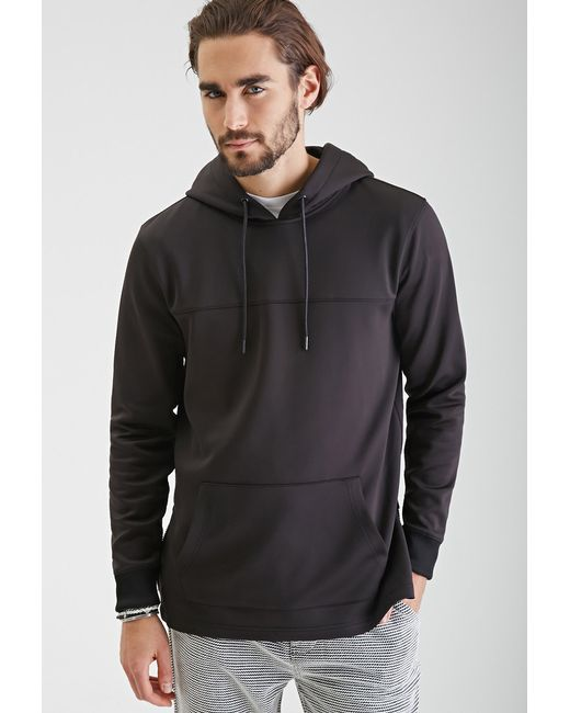 Forever 21 Zippered Scuba Knit Hoodie in Black for Men ...