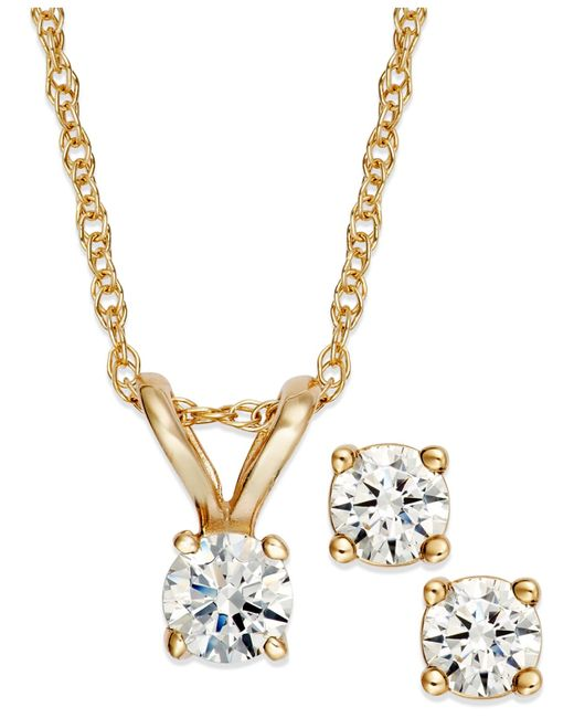 Macy S Round Cut Diamond Pendant Necklace And Earrings Set In 10k Yellow Or White Gold 1 6 Ct