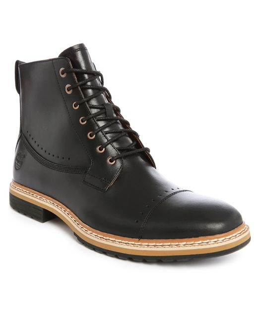 timberland lace up leather ankle boots in black for