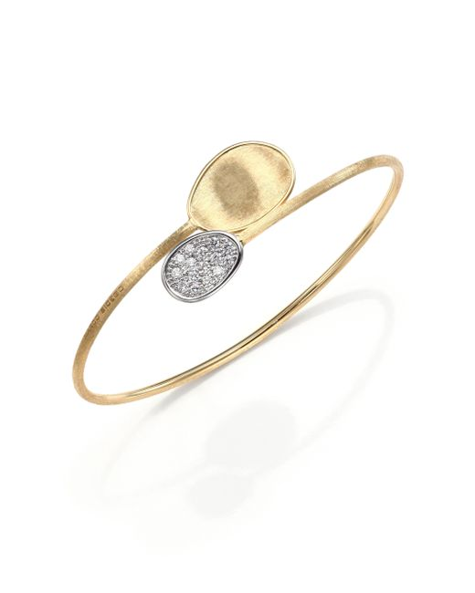 Marco Bicego | Metallic Lunaria Diamond & 18k Yellow Gold Bypass Bangle Bracelet | Lyst