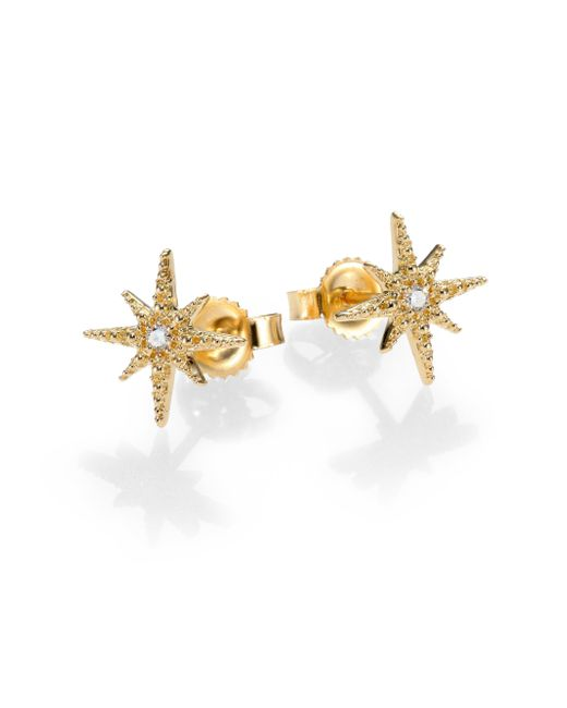 Mizuki | Metallic Icicle Diamond & 14k Yellow Gold Star Stud Earrings | Lyst