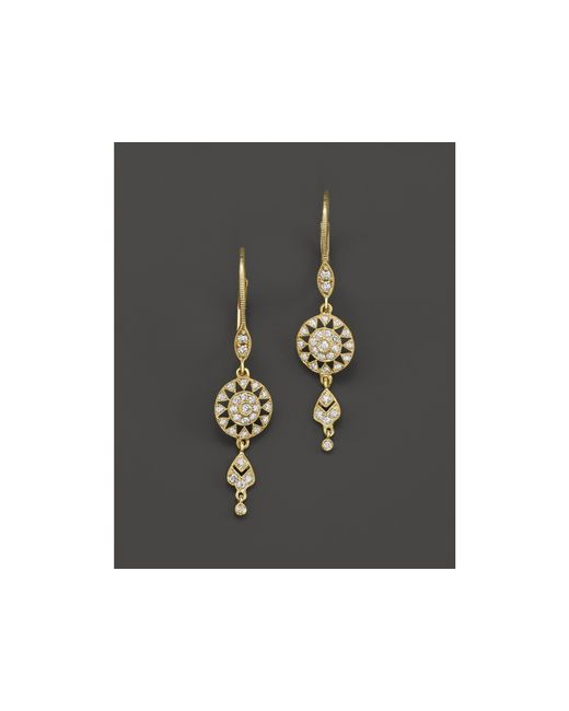 Meira T | Metallic 14k Yellow Gold Antique Drop Earrings With Diamonds | Lyst