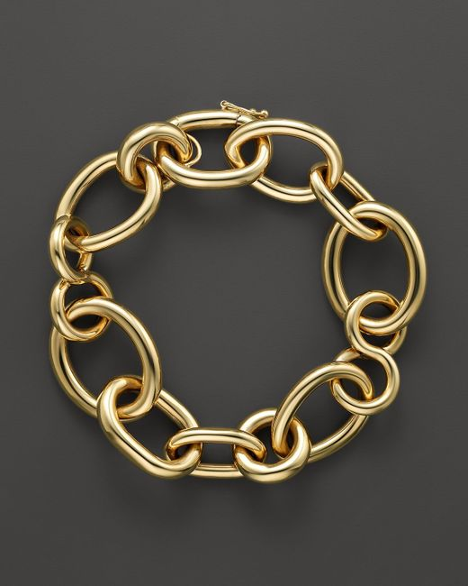 Roberto Coin   Metallic 18k Yellow Gold Alternating Shape Link Bracelet - Bloomingdale's Exclusive   Lyst
