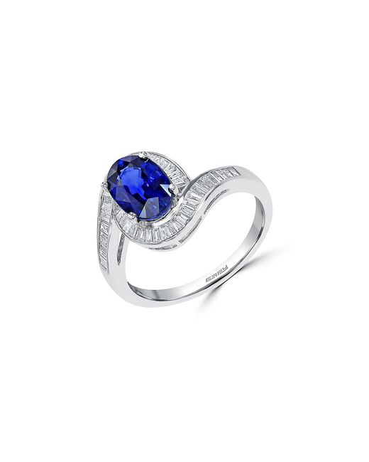 Effy | Metallic 14k White Gold Sapphire And Diamond Ring | Lyst