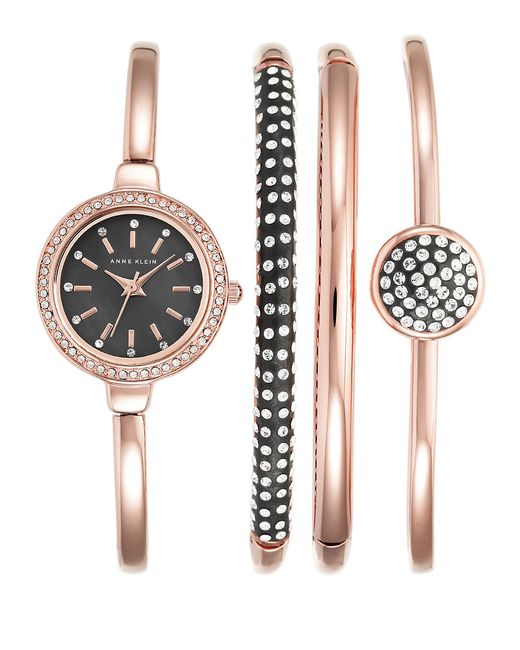 Anne klein 4 piece pave and rose goldtone watch and bracelet set in gold rose gold lyst for Anne klein rose gold watch set