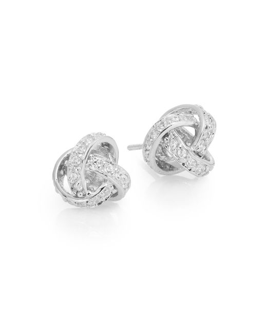 Ak Anne Klein | Metallic Sterling Silver Pavé Knot Earrings | Lyst