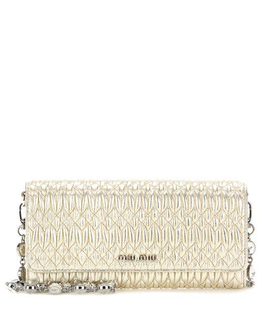 Miu Miu | Gold Matelassé Metallic Leather Shoulder Bag | Lyst