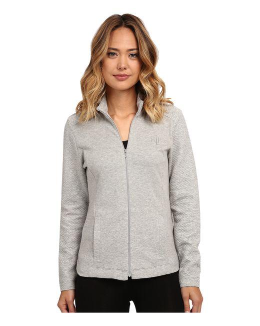 Lauren by Ralph Lauren | Gray Zip Front Lounge Jacket | Lyst