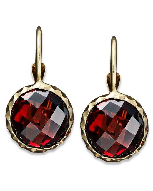 Macy's | Metallic 14k Gold Earrings, Garnet Leverback Earrings (5 Ct. T.w.) | Lyst