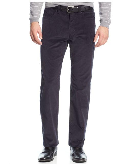 Calvin klein stretch slim fit corduroy pants in blue for for Calvin klein slim fit stretch shirt