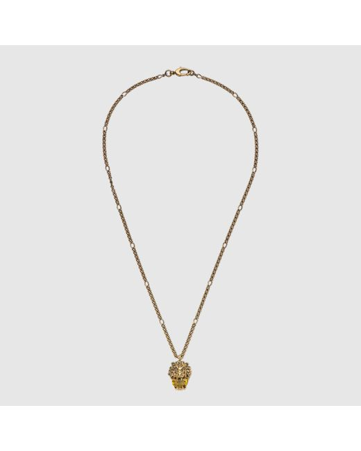 Gucci | Metallic Lion Head Necklace With Crystal | Lyst