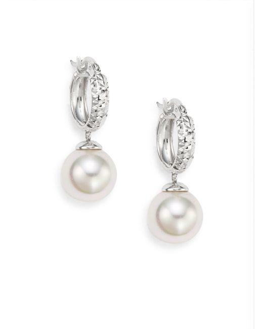 "Majorica | Ophol 10mm White Round Pearl & Sterling Silver Hoop Earrings/1"" | Lyst"