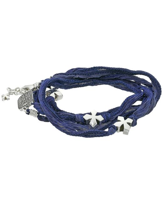 King Baby Studio | Blue Multi Wrap Indigo Silk Bracelet With Crosses | Lyst