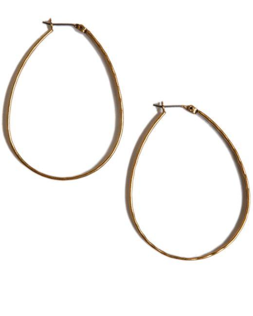 Lucky Brand | Metallic Earrings, Medium Oblong Silver-tone Hoop | Lyst
