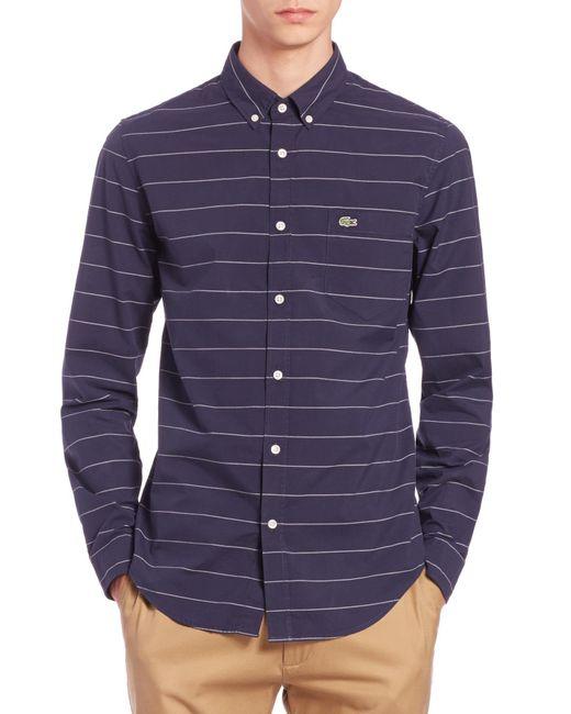 Lacoste   Blue Slim-fit Striped Cotton Pplin Sportshirt for Men   Lyst