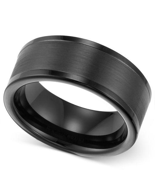 Triton Wedding Band Black Tungsten Carbide 8mm: Triton Men's 8mm Black Tungsten Wedding Band In Black For