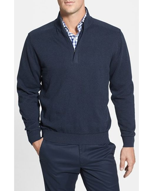 Cutter & Buck | Blue 'broadview' Half Zip Sweater for Men | Lyst