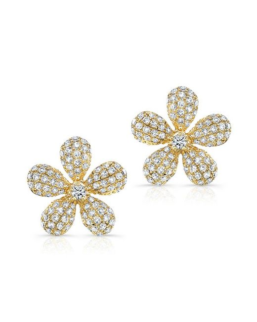 Anne Sisteron | 14kt Yellow Gold Diamond Puffy Daisy Flower Stud Earrings | Lyst