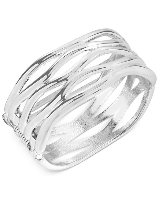 Robert Lee Morris | Metallic Silver-tone Sculptural Cut-out Hinge Bangle Bracelet | Lyst