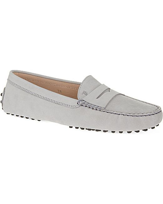 tod s nubuck leather driving shoes in white grey light