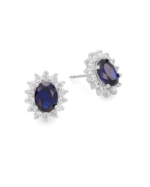 CZ by Kenneth Jay Lane | Blue Royal Classic Stud Earrings | Lyst