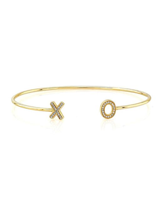 Anne Sisteron | Metallic 14kt Yellow Gold Diamond Xo Cuff | Lyst