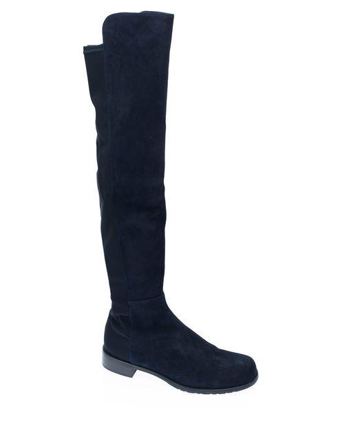 stuart weitzman navy 5050 suede knee boots in blue navy