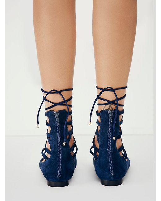 Free People | Blue Shay Lace Up Flat | Lyst