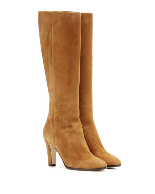 jimmy choo martine suede knee high boots in brown lyst