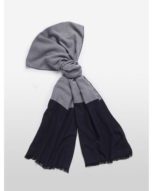 Calvin Klein | Blue Colorblock Fringed Scarf | Lyst