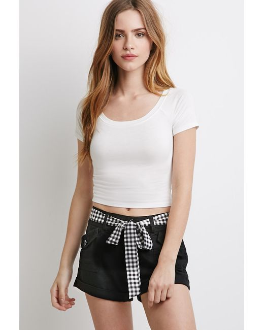Forever 21 | Black Gingham Belt Shorts | Lyst