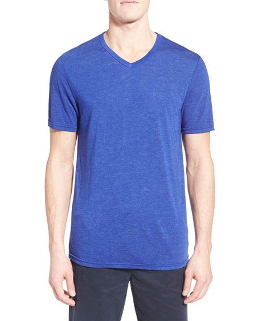 Michael stars v neck t shirt in blue for men adriatic lyst for Michael stars tee shirts