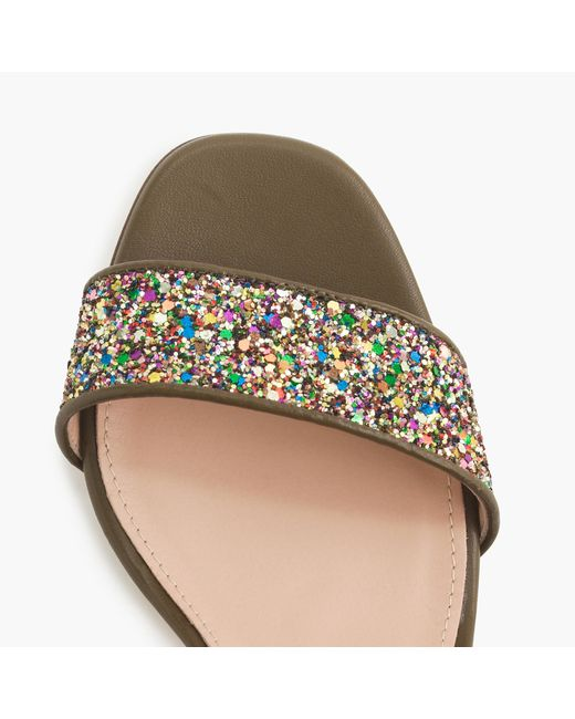 J.Crew | Multicolor Collection Green Glitter Strappy Sandals | Lyst