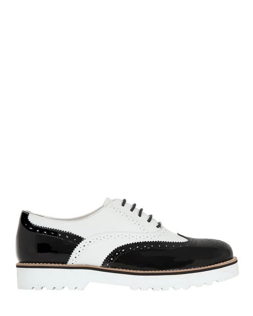 two tone leather oxford shoes in black for