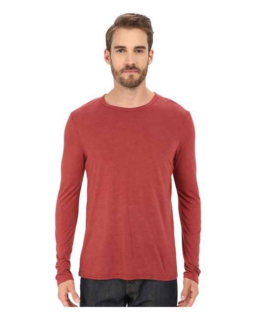 Michael stars long sleeve bamboo crew neck tee in red for for Michael stars tee shirts