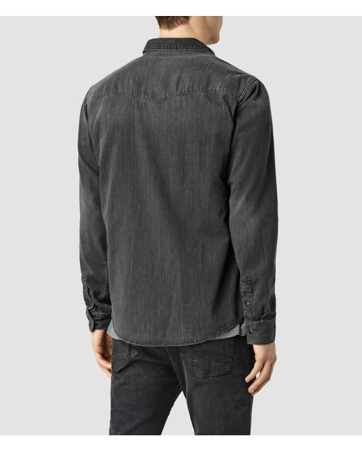 AllSaints | Gray Marilla Denim Shirt for Men | Lyst