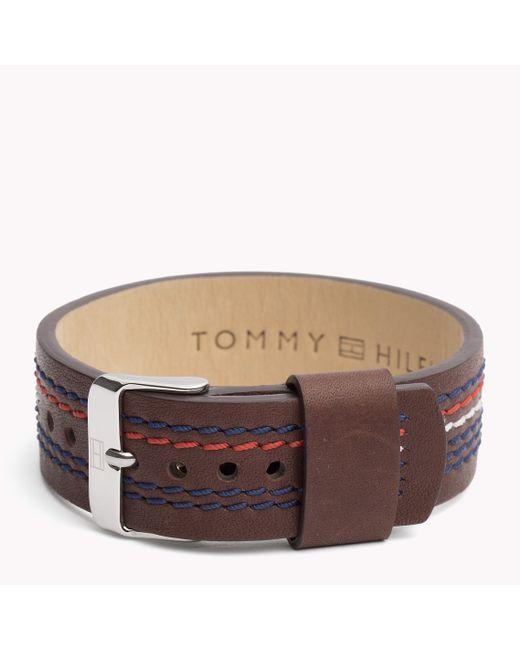 Tommy Hilfiger | Brown Leather Strap Bracelet for Men | Lyst