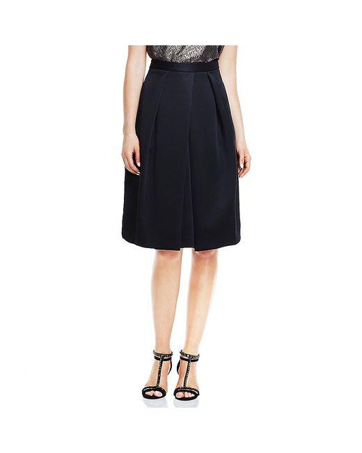 vince camuto pleated scuba midi skirt in black rich black
