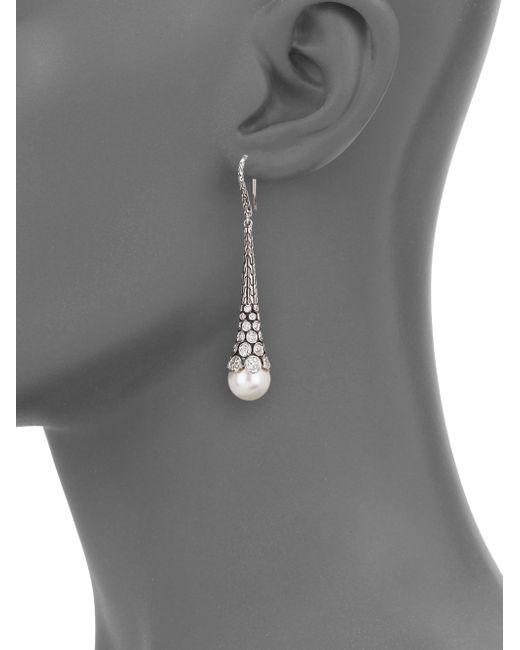 John Hardy | Metallic Dot 10.5mm White Pearl, Diamond & Sterling Silver Pendant Drop Earrings | Lyst