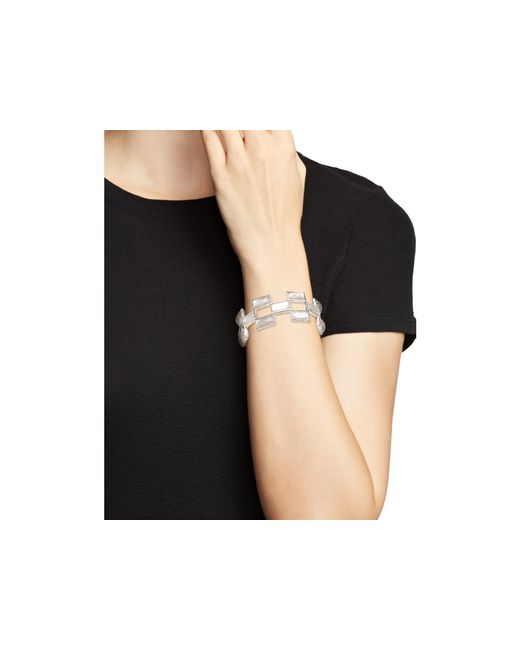 Ippolita | White Sterling Silver Rock Candy® Stone Mosaic Bracelet In Clear Quartz And Mother-of-pearl | Lyst
