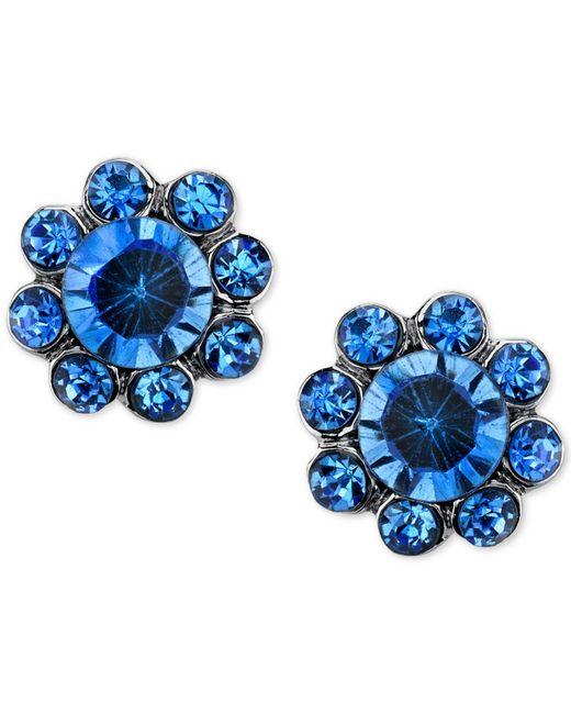 2028 | Silver-tone Blue Crystal Floral Stud Earrings | Lyst
